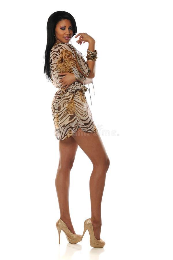 Amerykanin afrykańskiego pochodzenia młoda piękna kobieta obraz stock