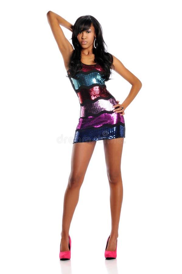 amerykanin afrykańskiego pochodzenia mody modela kobiety potomstwa zdjęcia stock