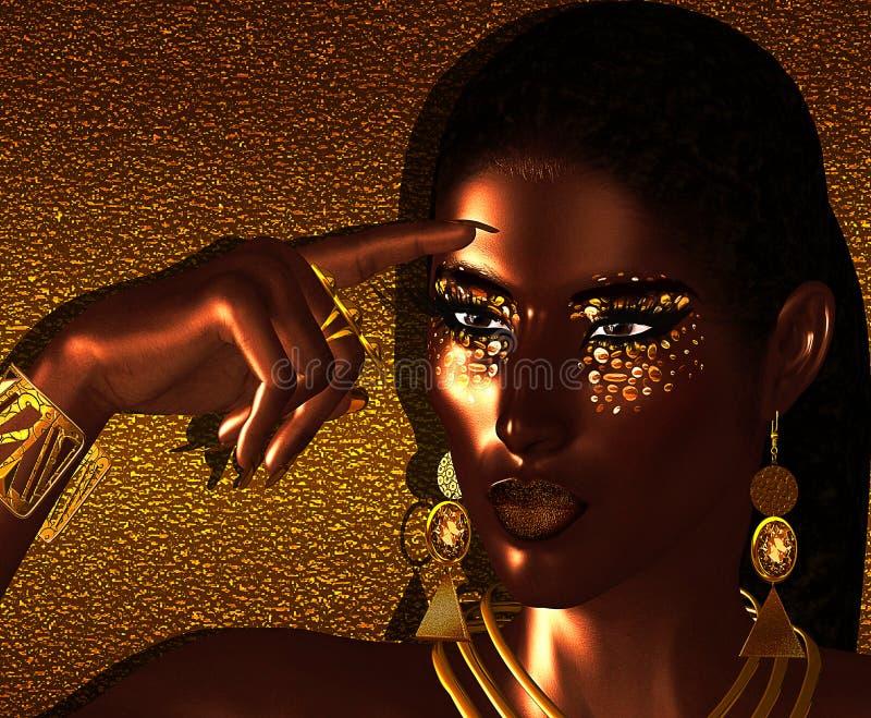 Amerykanin Afrykańskiego Pochodzenia mody piękno royalty ilustracja