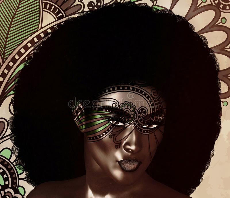 Amerykanin Afrykańskiego Pochodzenia mody piękno, Modnego Afro Włosiany styl royalty ilustracja