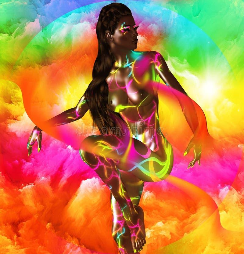 Amerykanin Afrykańskiego Pochodzenia mody piękno Oszałamiająco kolorowy wizerunek piękna kobieta z dopasowywania makeup, akcesori royalty ilustracja