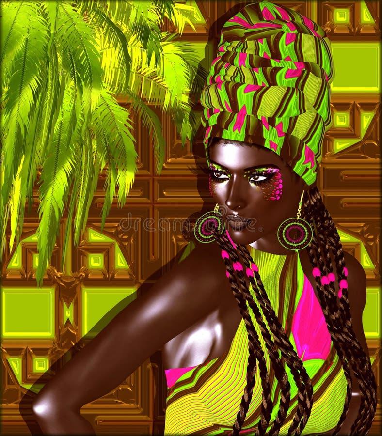 Amerykanin Afrykańskiego Pochodzenia mody piękno Oszałamiająco kolorowy wizerunek piękna kobieta z dopasowywania makeup, akcesori ilustracji