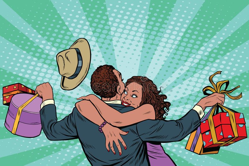 Amerykanin Afrykańskiego Pochodzenia pary szczęście od prezentów i zakupy royalty ilustracja