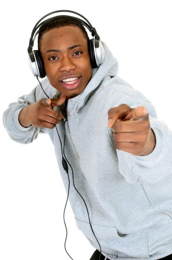 amerykanin afrykańskiego pochodzenia słuchawki zdjęcie royalty free