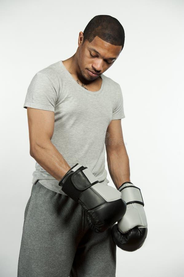 Amerykanin Afrykańskiego Pochodzenia samiec bokser obraz royalty free