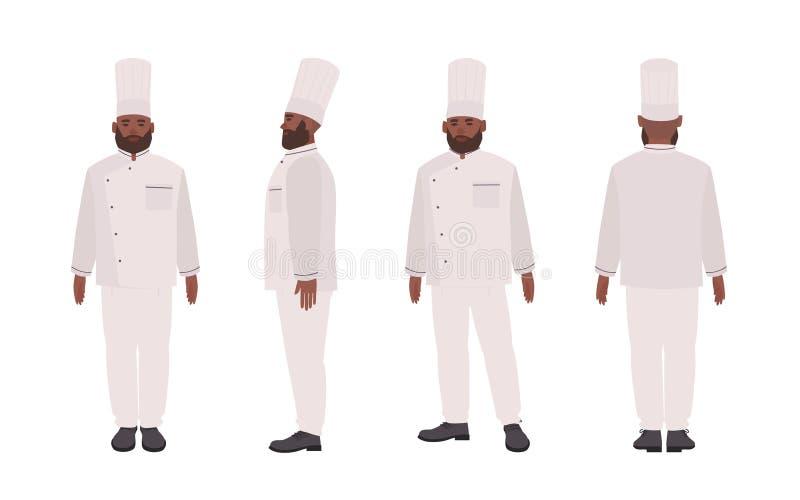 Amerykanin Afrykańskiego Pochodzenia szef kuchni, pracownik jest ubranym mundur, kwalifikujący kucharza, restauracyjnego lub kuli ilustracja wektor