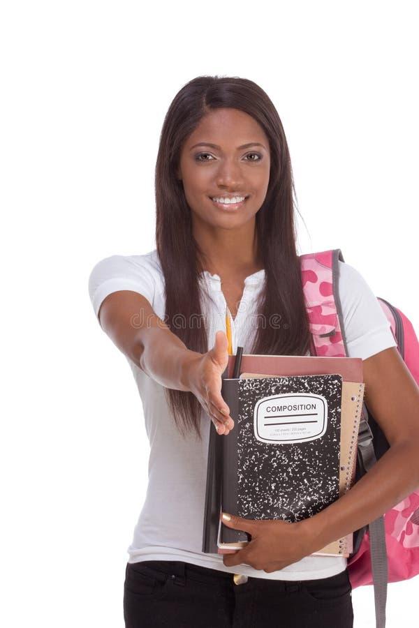 amerykanin afrykańskiego pochodzenia szkoła wyższa powitania ucznia kobieta fotografia stock