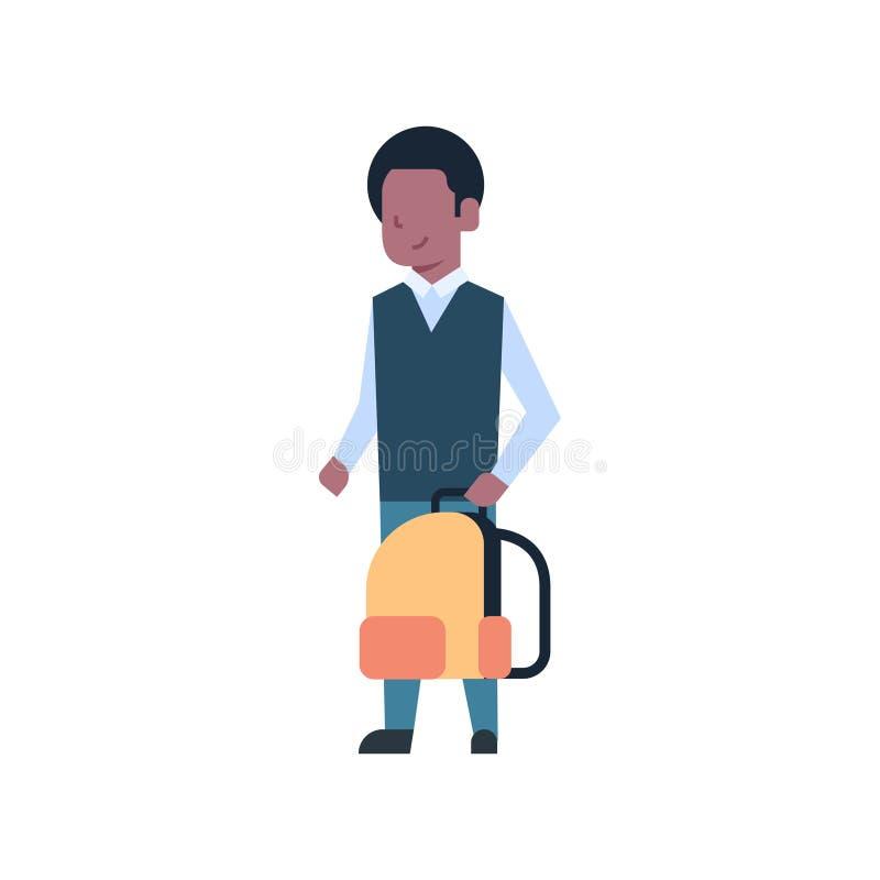 Amerykanin Afrykańskiego Pochodzenia Szkolnej chłopiec mienia plecaka ucznia Uczniowski dzieciak Odizolowywający Na Białym tle ilustracja wektor