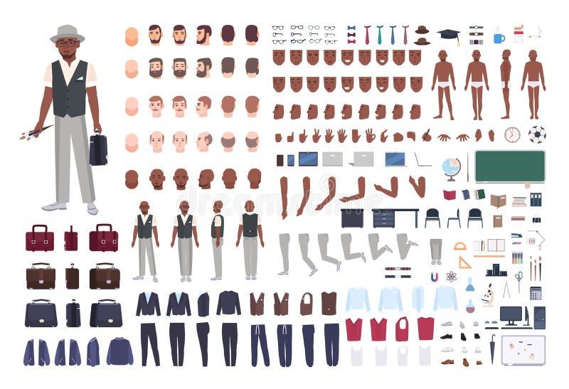 Amerykanin Afrykańskiego Pochodzenia sztuki nauczyciela tworzenia szkolny set Kolekcja męskie części ciała w różnych pozach, ubra royalty ilustracja