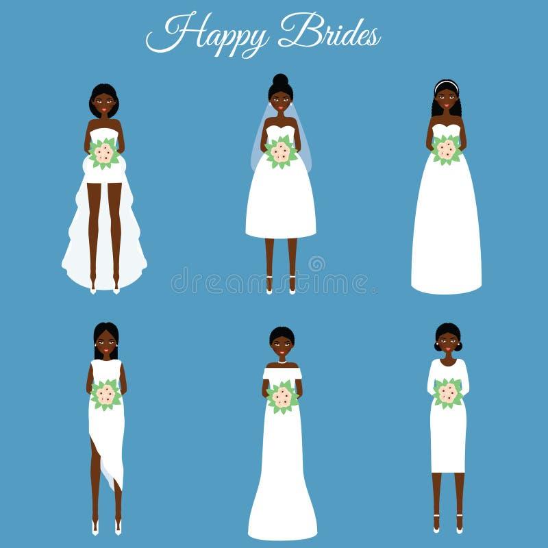Amerykanin afrykańskiego pochodzenia uśmiecha się szczęśliwe panny młode Kobiety w mod ślubnych sukniach royalty ilustracja