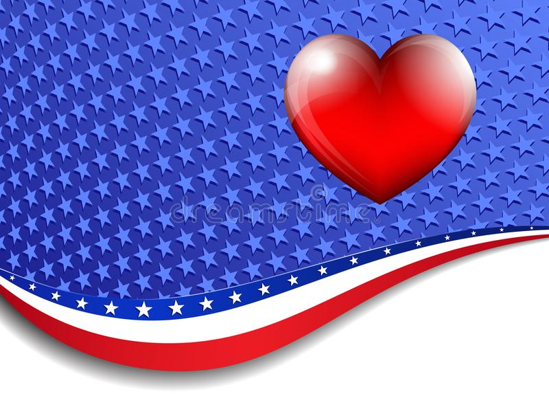Amerykanin, gwiazdy i lampasa tło z 3D sercem, royalty ilustracja