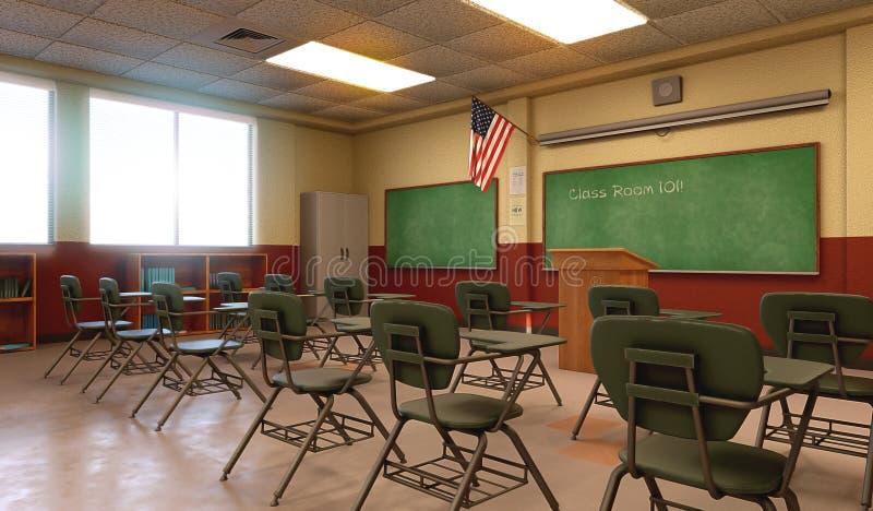 Amerykanin sali lekcyjnej Szkolny środowisko Pusty royalty ilustracja