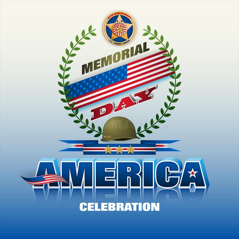Amerykanin, wojsko siły, dnia pamięci świętowanie ilustracja wektor