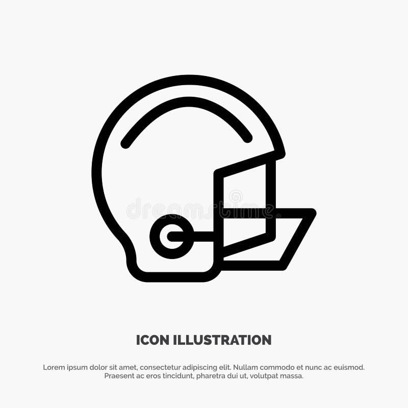 Amerykanin, wyposażenie, futbol, hełm, Ochronny Kreskowy ikona wektor ilustracja wektor