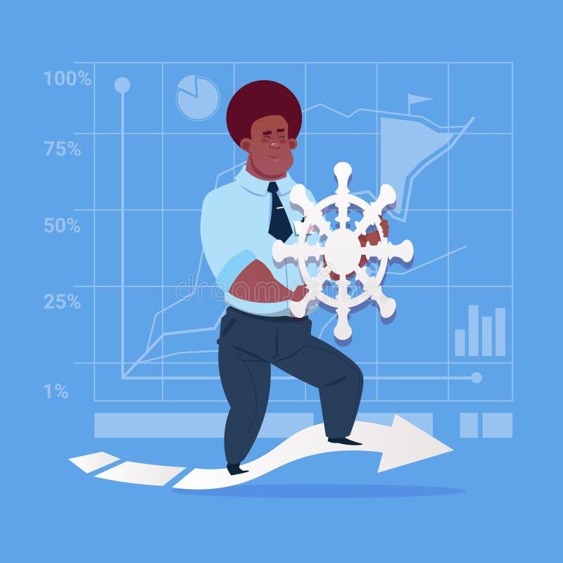 Amerykanina Afrykańskiego Pochodzenia Biznesowy mężczyzna Mienie Kierownica Lider Firma royalty ilustracja