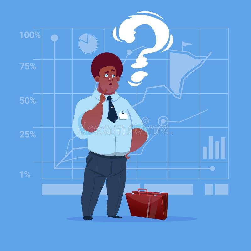 Amerykanina Afrykańskiego Pochodzenia Biznesowy mężczyzna Rozpamiętywa Problemowego pojęcie Z znakiem zapytania royalty ilustracja