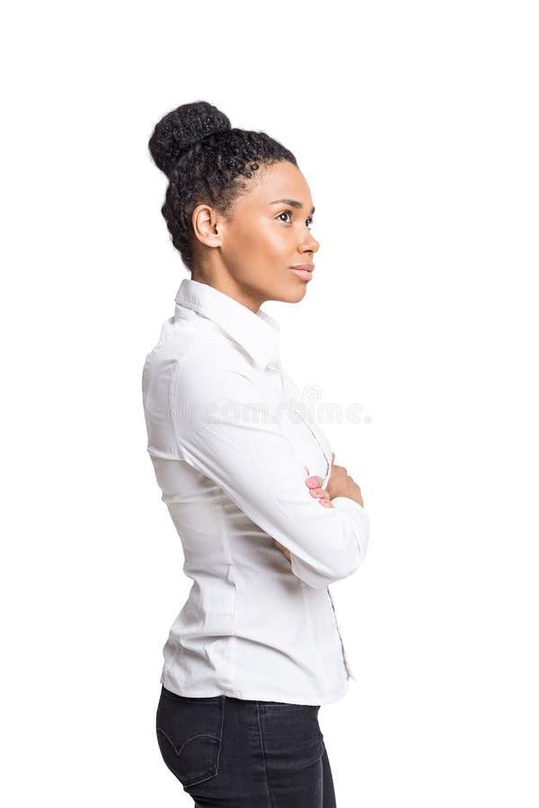 Amerykanina Afrykańskiego Pochodzenia bizneswoman, odizolowywający obrazy royalty free