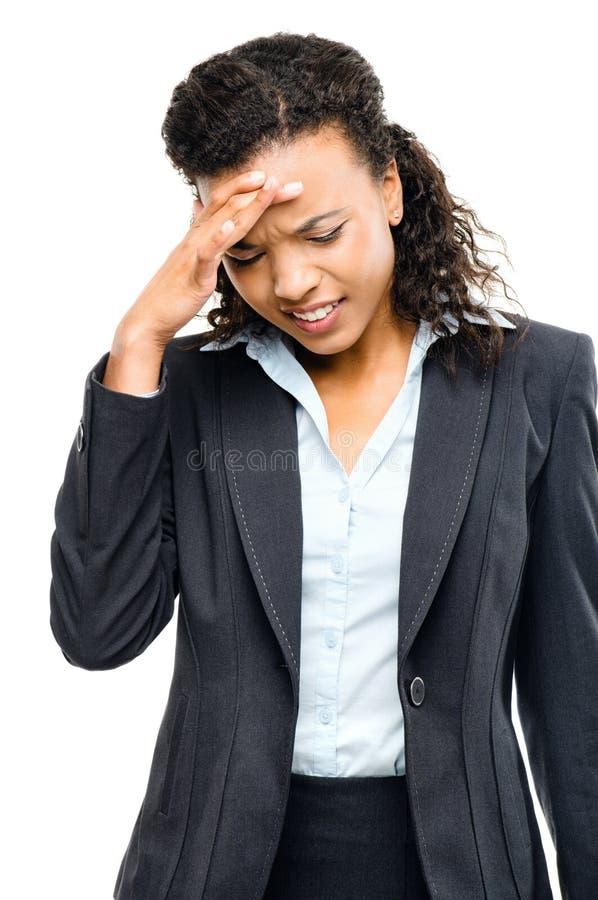 Amerykanina afrykańskiego pochodzenia bizneswoman stresujący się odosobniony biały backgroun obraz royalty free