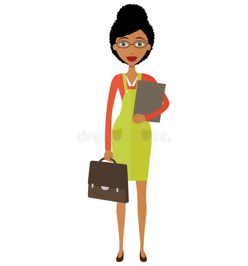 Amerykanina afrykańskiego pochodzenia bizneswomanu młoda pozycja i pić coffe fotografia royalty free