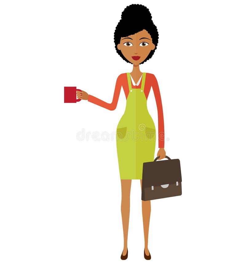 Amerykanina afrykańskiego pochodzenia bizneswomanu młoda pozycja i pić coffe fotografia stock