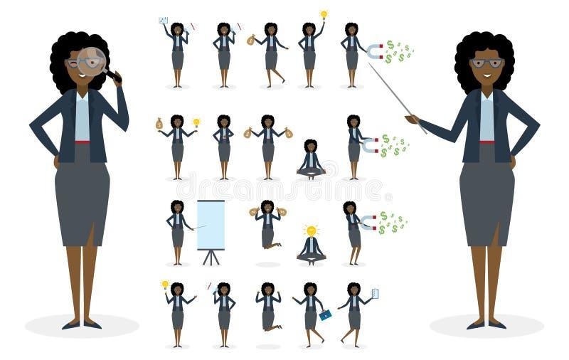 Amerykanina afrykańskiego pochodzenia bizneswomanu set ilustracja wektor