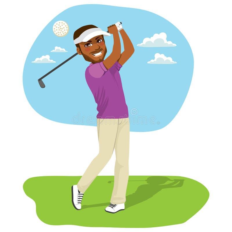 Amerykanina Afrykańskiego Pochodzenia golfista royalty ilustracja