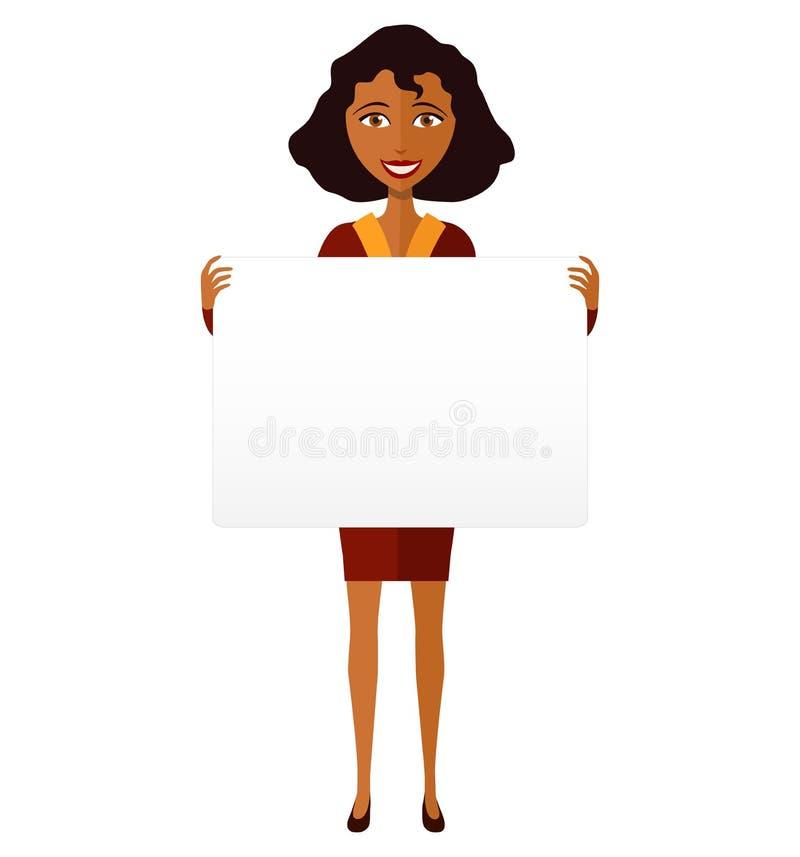 Amerykanina Afrykańskiego Pochodzenia kierownika kobiety mienia sztandar lub znak odizolowywaliśmy o obrazy stock