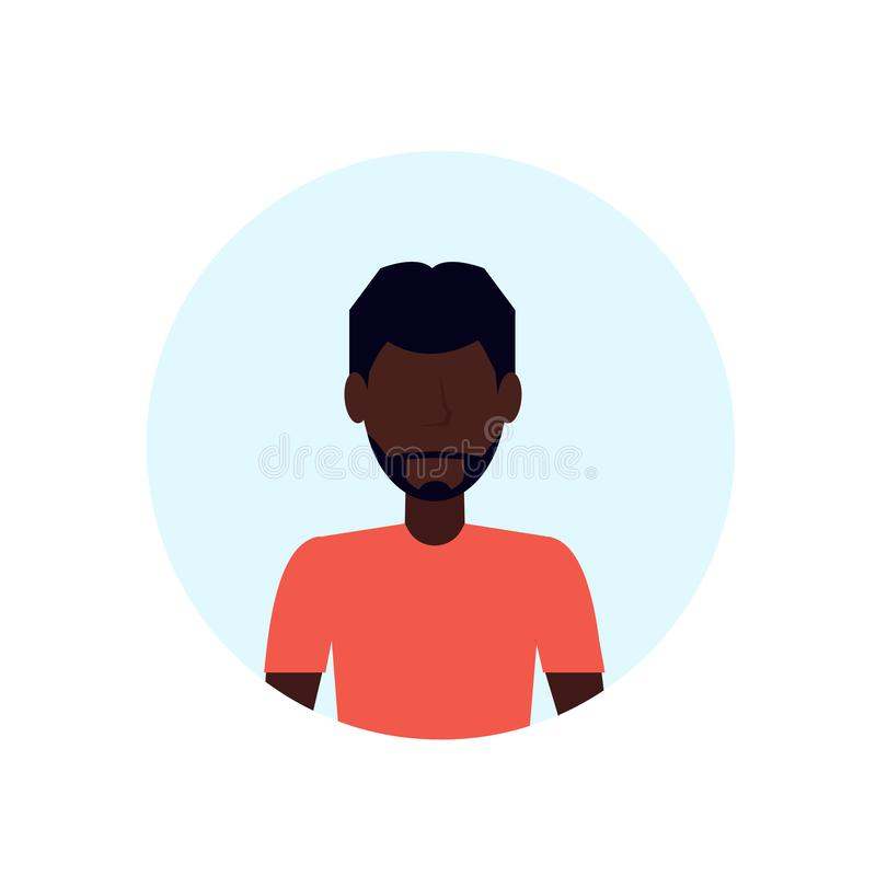 Amerykanina afrykańskiego pochodzenia mężczyzna avatar odizolowywał beztwarzowego męskiego postać z kreskówki portreta mieszkanie ilustracja wektor