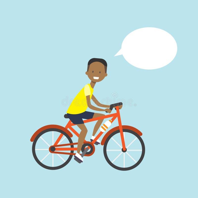 Amerykanina afrykańskiego pochodzenia mężczyzna kolarstwa gadki bąbla charakter folował długość nad błękitnym tła mieszkaniem ilustracja wektor