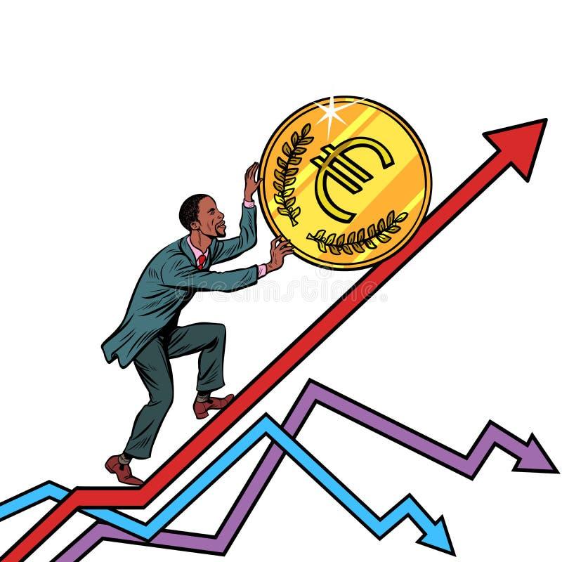 Amerykanina Afrykańskiego Pochodzenia mężczyzna rolka euro moneta up royalty ilustracja