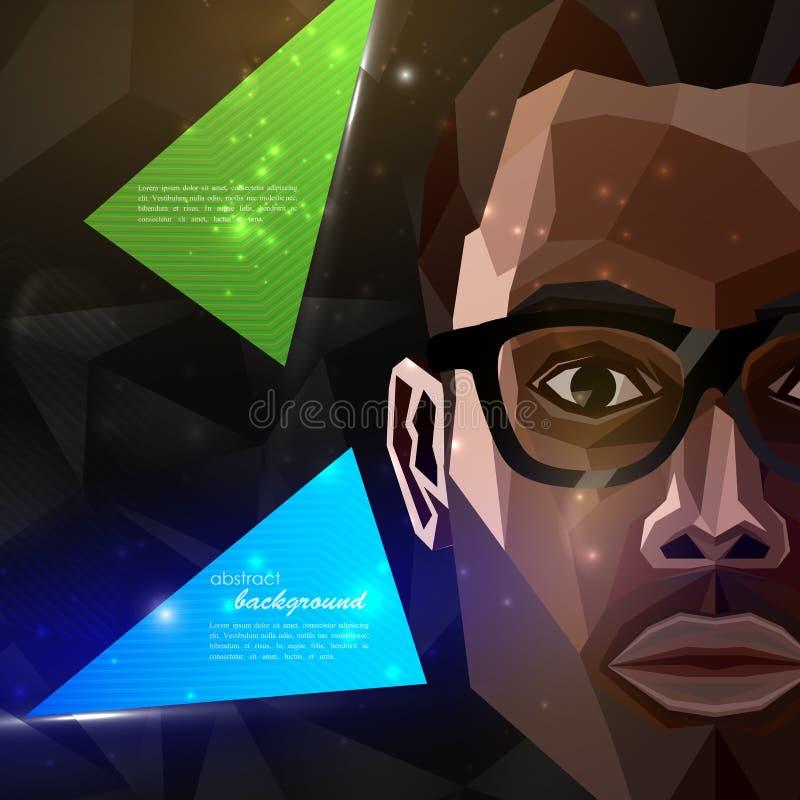 Amerykanina afrykańskiego pochodzenia mężczyzna twarz w poligonalnym stylu nowożytny plakat, ulotka z mody, piękna lub rozrywki p ilustracji