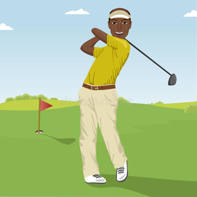 Amerykanina afrykańskiego pochodzenia męski golfowy gracz uderza piłkę Fachowy męski golfista na polu golfowym royalty ilustracja