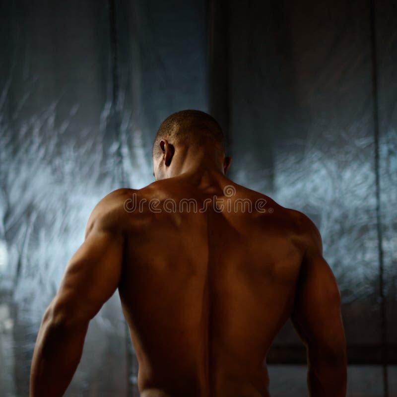 Amerykanina afrykańskiego pochodzenia męskiego ciała budowniczy pozuje na pracownianym tle widok z powrotem zdjęcie stock