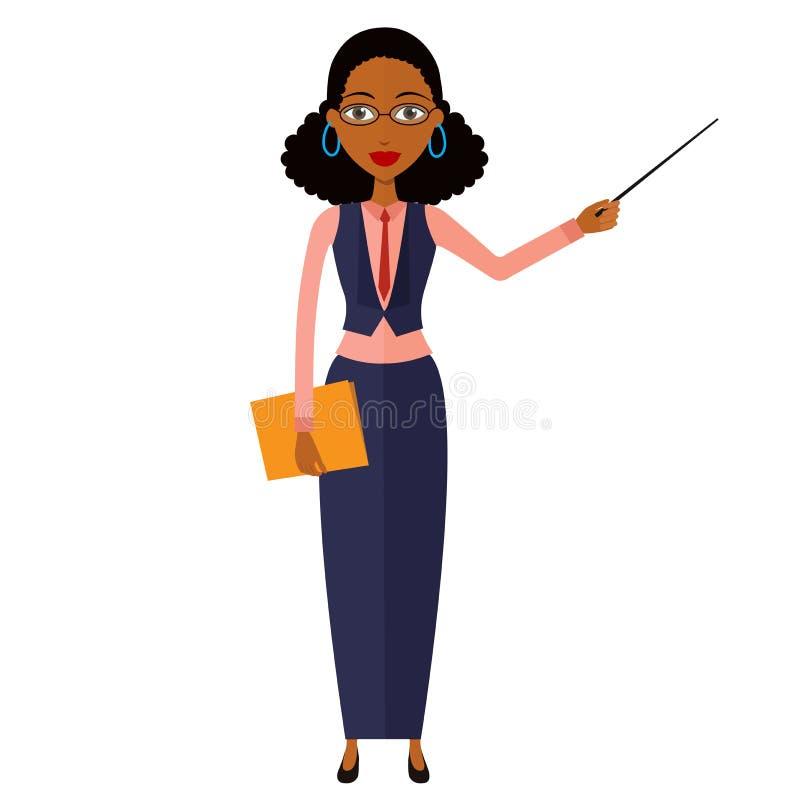 Amerykanina afrykańskiego pochodzenia nauczyciel z pointer ilustraci wektorowym iso zdjęcie royalty free