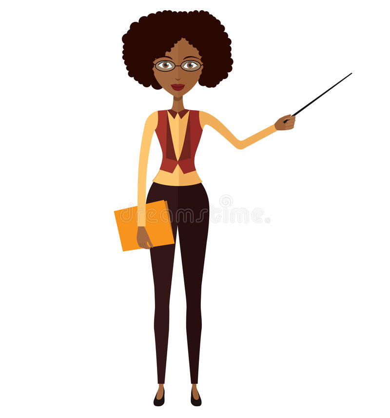 Amerykanina Afrykańskiego Pochodzenia nauczyciel z pointeru wektorem odizolowywającym na whi zdjęcie stock