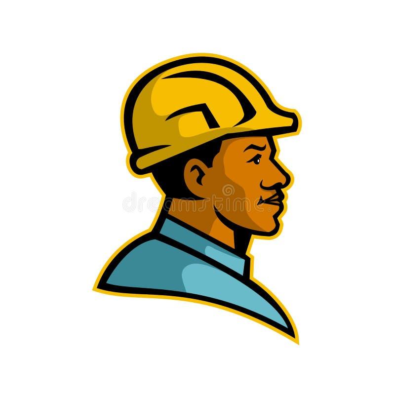 Amerykanina Afrykańskiego Pochodzenia pracownika budowlanego maskotka ilustracji
