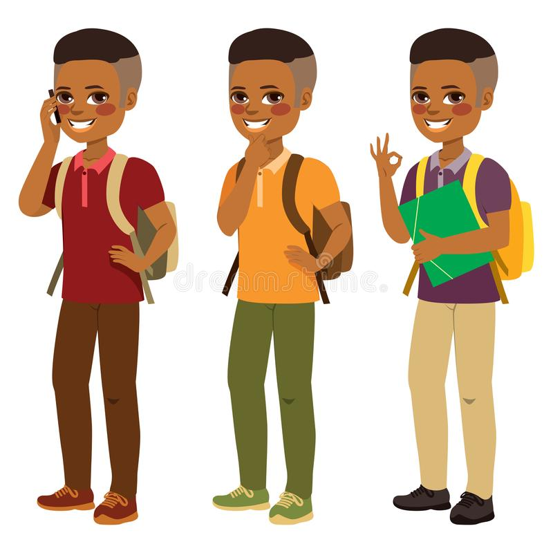 Amerykanina Afrykańskiego Pochodzenia ucznia chłopiec ilustracja wektor