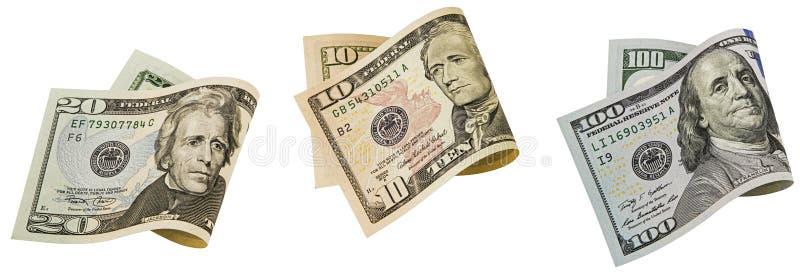 Amerykanina banknotu papierowego fałdowego kolażu odosobniony biel zdjęcie royalty free