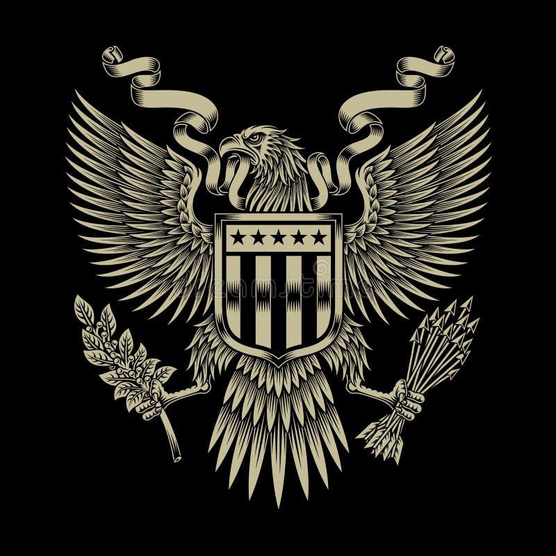 Amerykanina Eagle emblemat royalty ilustracja