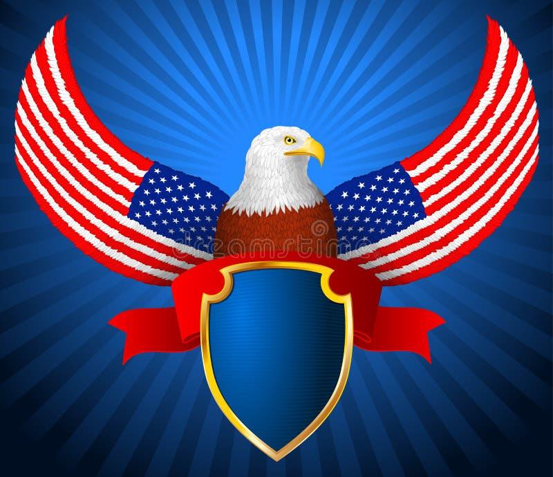 Amerykanina Eagle flaga skrzydła osłony faborek royalty ilustracja