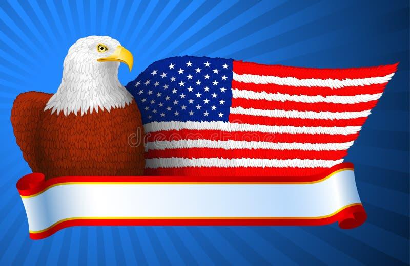 Amerykanina Eagle flaga skrzydło royalty ilustracja