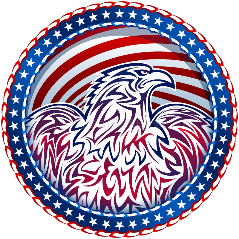 Amerykanina Eagle Natioal symbolu usa Fourth Lipa emblemata kolor royalty ilustracja