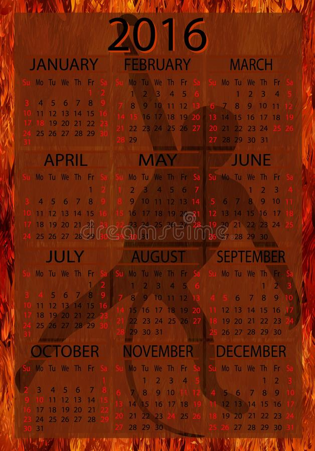 Amerykanina kalendarz 2016 ilustracji