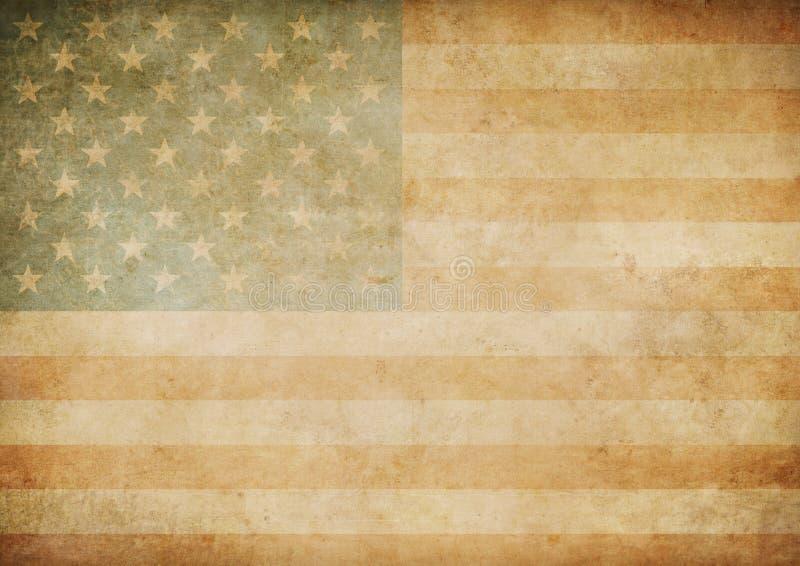 Amerykanina lub usa papieru flaga stary tło ilustracji