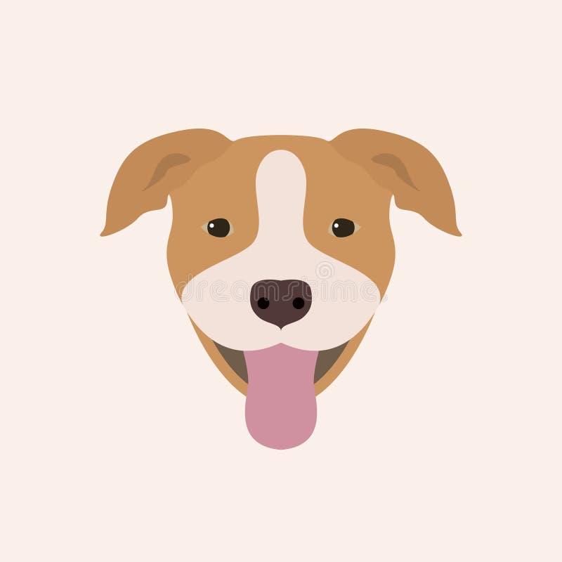 Amerykanina Pitbull Terrier portret ilustracji