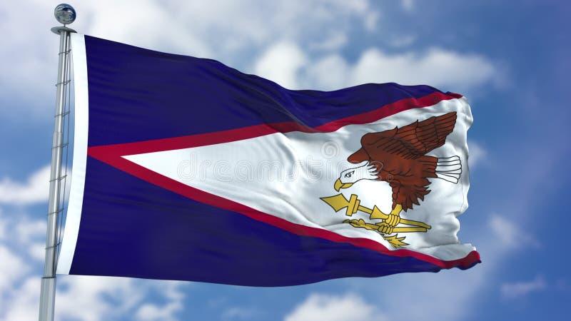 Amerykanina Samoa flaga w niebieskim niebie fotografia royalty free