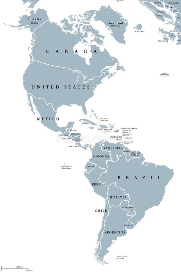 Ameryki polityczna mapa ilustracja wektor