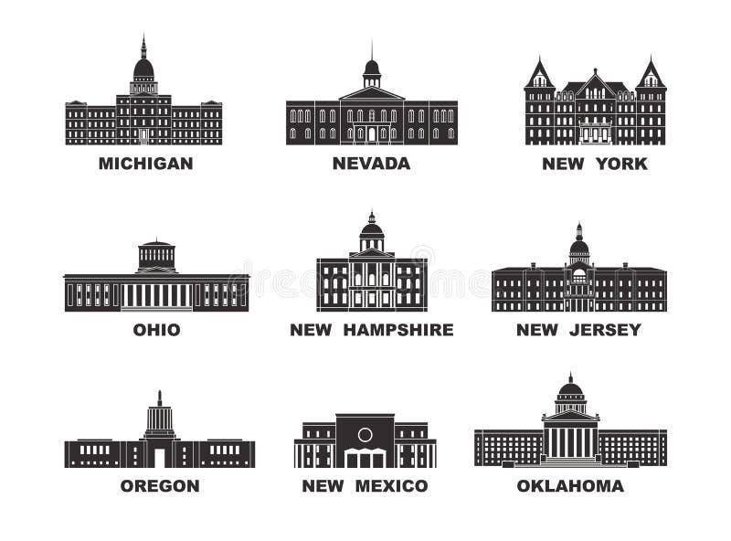 ameryki stany zjednoczone Wektorowa kolekcja Stany Zjednoczone miasto royalty ilustracja