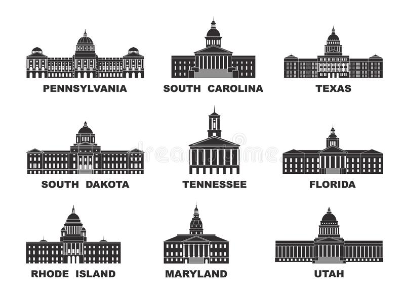 ameryki stany zjednoczone Wektorowa kolekcja Stany Zjednoczone miasto ilustracji