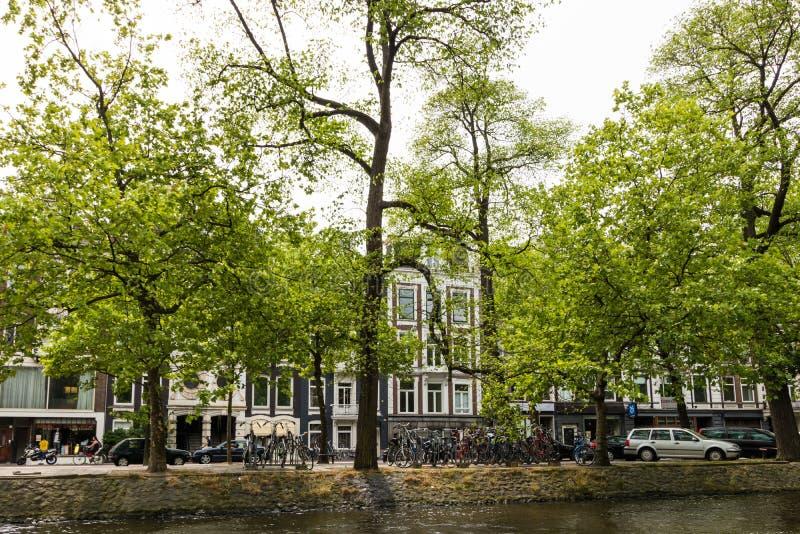 Amesterdam, Holland - 2019 Bilar och cyklar parkerade nära floden Amstels kanal på smala gator i staden Amsterdam Gamla dutch royaltyfri fotografi